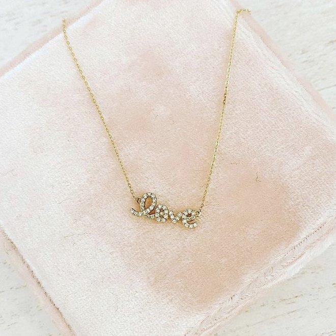 Yellow Gold Diamond Love Necklace