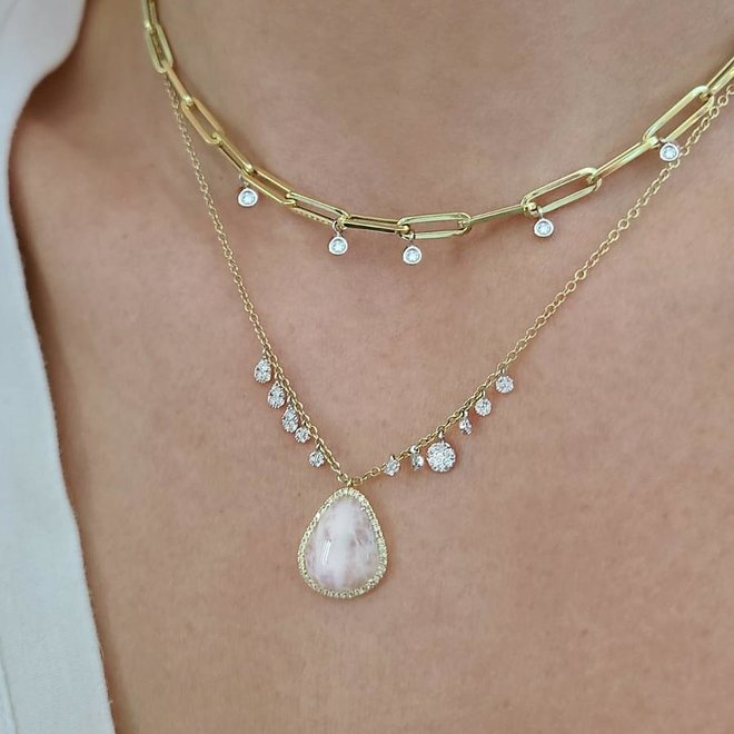 Diamond oval cable link necklace