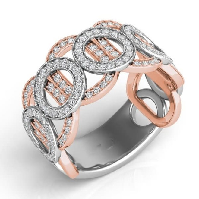 Rose and white gold right hand ring