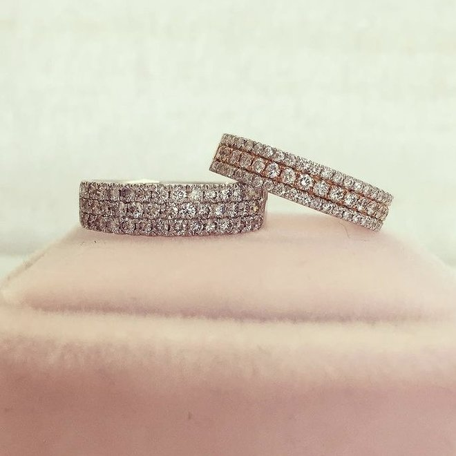 Rose and white gold triple row diamond band