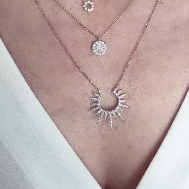 Diamond sun necklace
