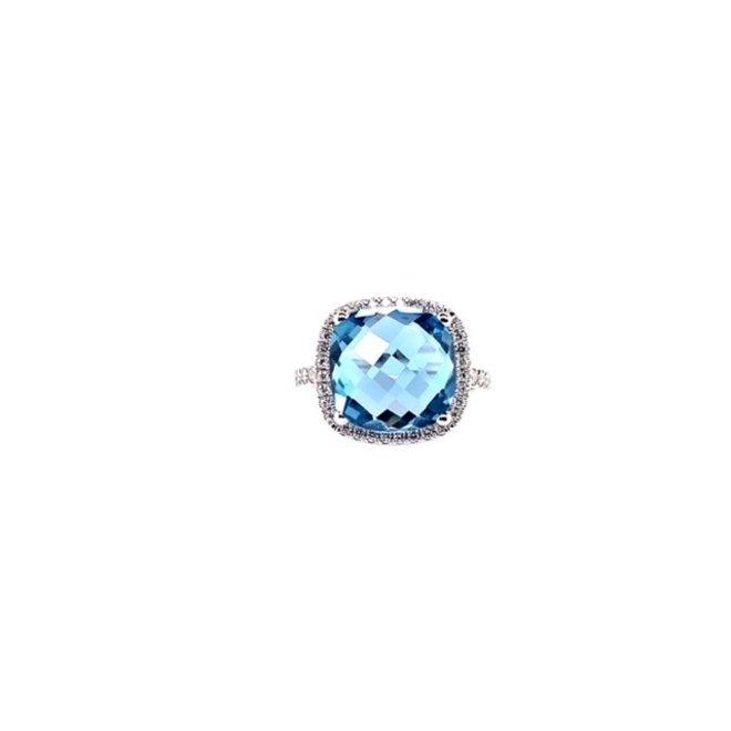 Swiss blue topaz diamond ring