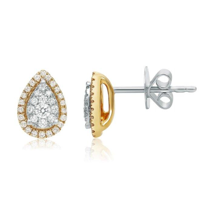 Pear shape diamond stud earrings-yellow gold
