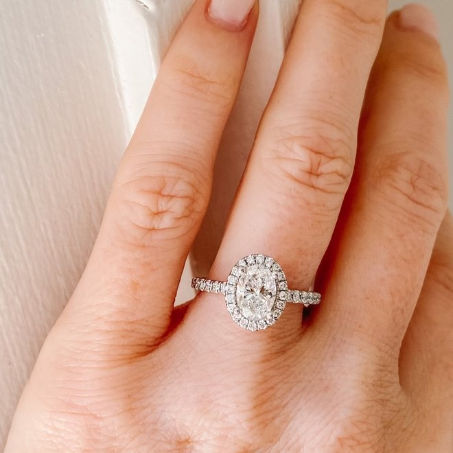 The Emma - custom oval cut halo engagement ring