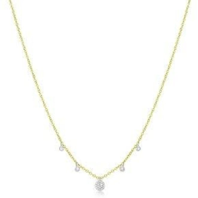 Diamond disc and charm necklace