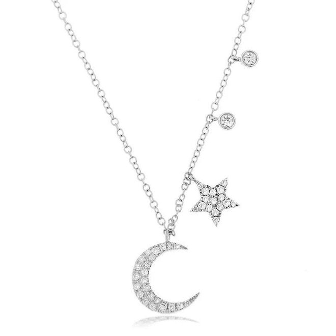 Moon and star celestial charm necklace