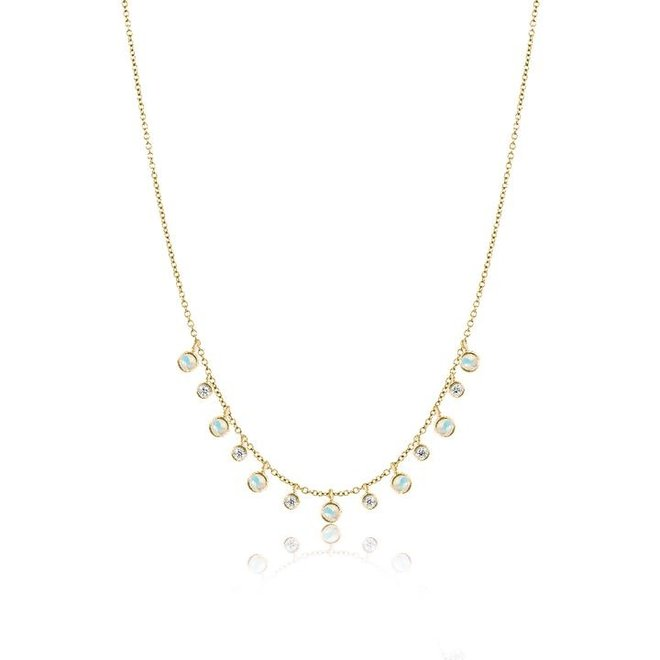 Opal and diamond layering necklace