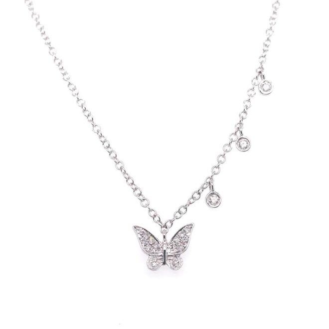 Butterfly diamond charm necklace