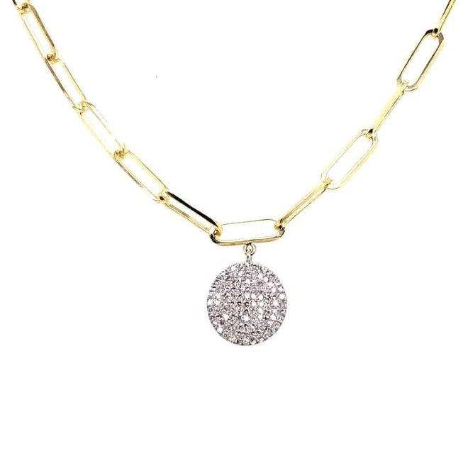 Pave disc cable link necklace