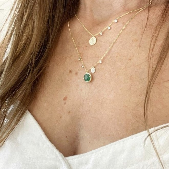 Emerald and diamond charm necklace