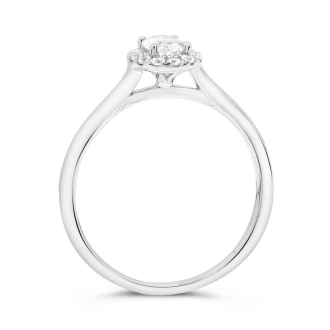 The Lily - 0.70ct oval diamond halo engagement ring