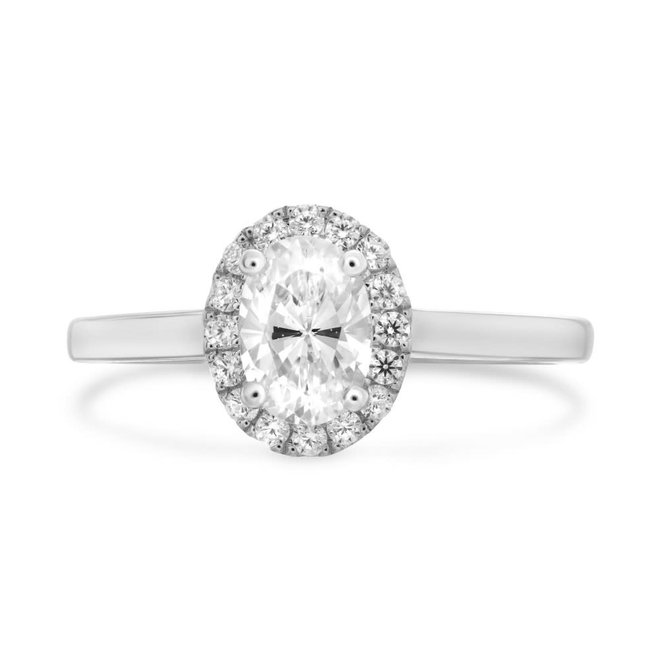 The Lily - 0.90ct oval diamond halo engagement ring
