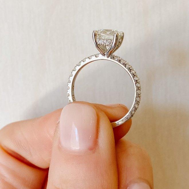The Capri - custom made diamond micro pave engagement ring