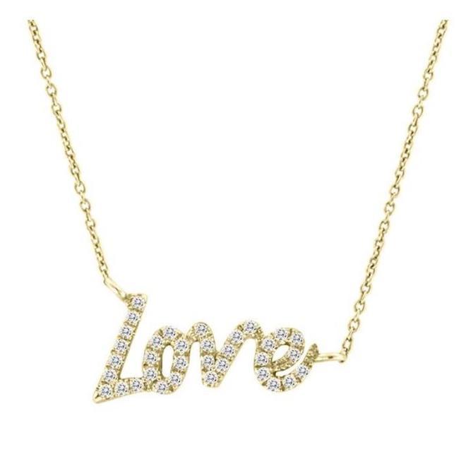 Diamond LOVE pendant - yellow gold