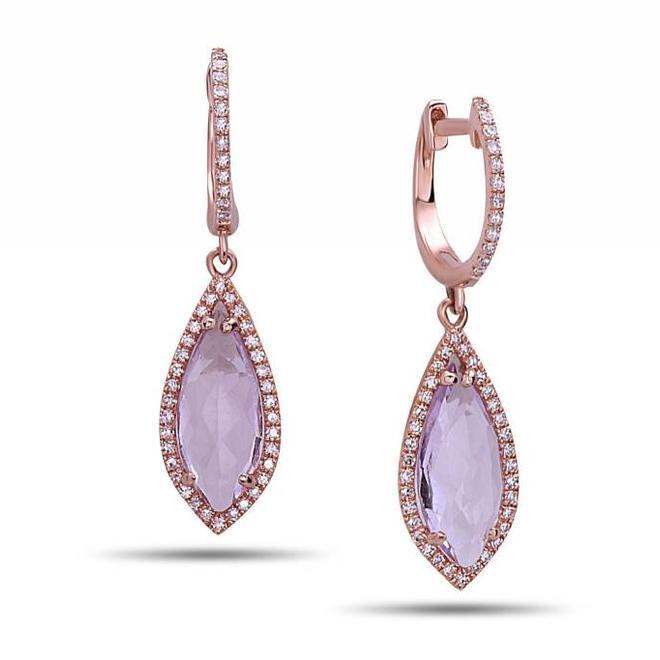Diamond and amethyst drop earrings - rose gold