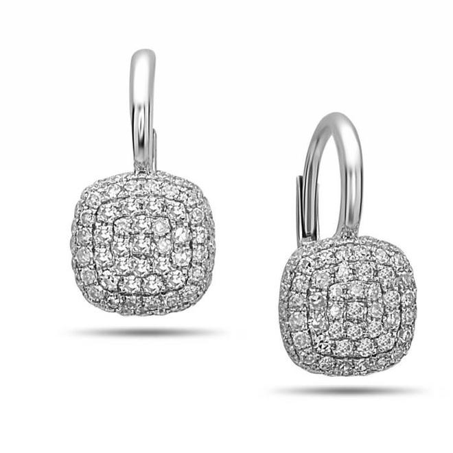 Diamond cushion shaped drop earrings - white gold
