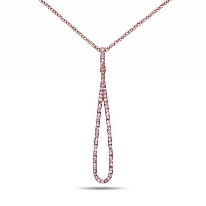 Diamond drop pendant - rose gold
