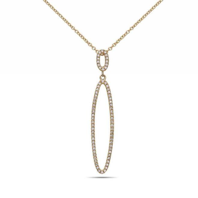 Diamond drop pendant - yellow gold