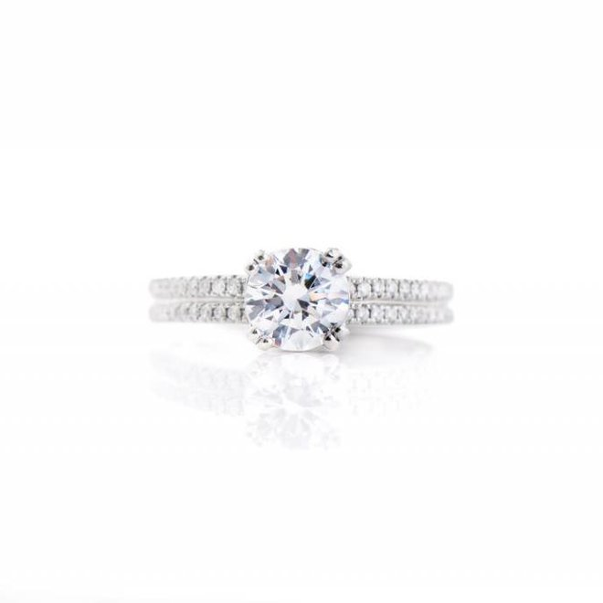 The Elle - custom double row diamond pave engagement ring