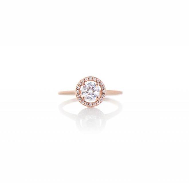 The Charlotte - custom rose gold halo engagement ring