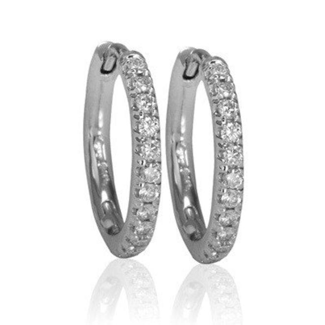Ef6087s 14k White Gold Micropave Hoop Earrings Dia 0 15tw Minichiello Jewellers