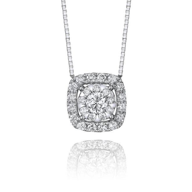 Cushion shaped diamond halo cluster pendant