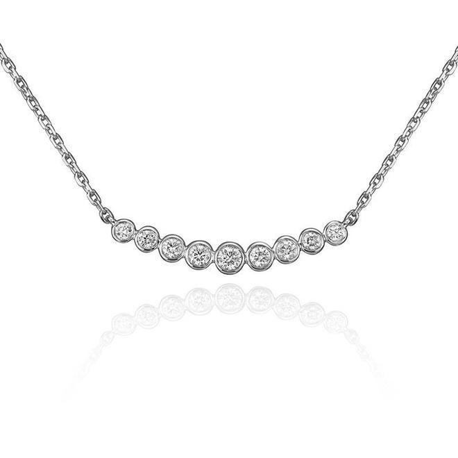 Nine diamond bezel set necklace