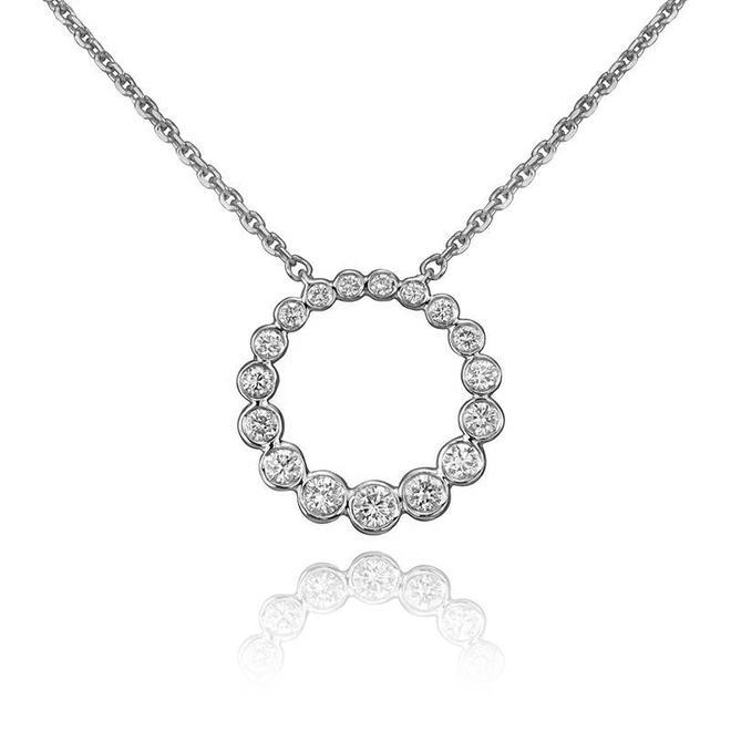 Petite diamond bezel circle pendant-white gold
