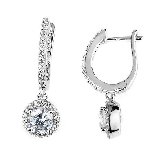 Sterling silver and cubic zirconia halo drop earrings