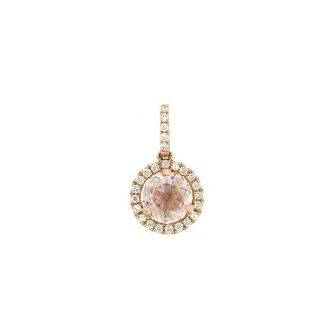 Round cut morganite and diamond halo pendant