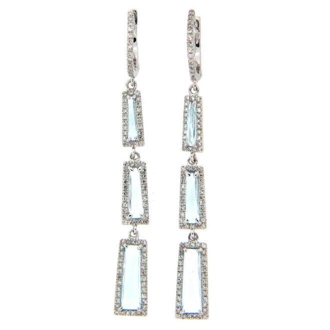 Blue topaz and diamond triple drop earrings