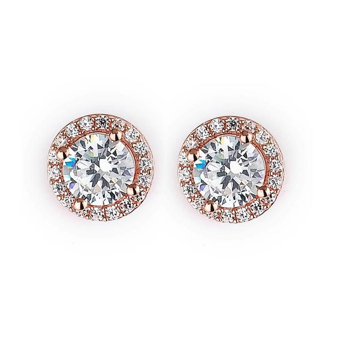 Rose gold plated cubic zirconia halo stud earrings
