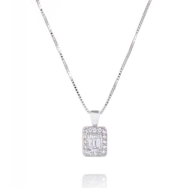 Emerald cut diamond halo pendant