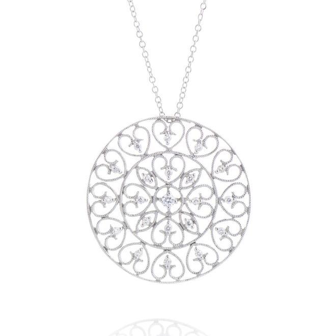 Ladies Diamond Filigree Pendant