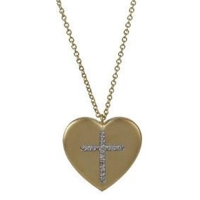 Ladies heart pendant with diamond cross accent