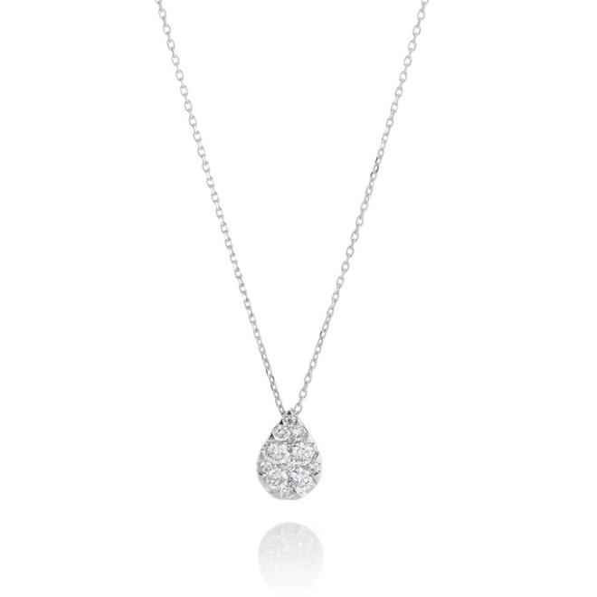 Pear shaped cluster diamond pendant