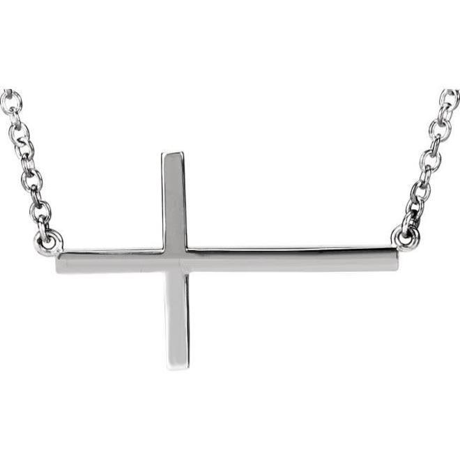 White gold sideways cross pendant