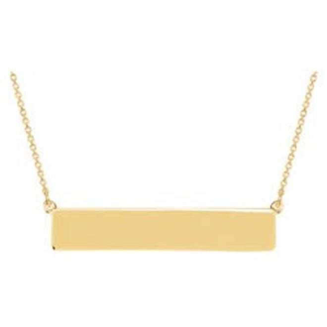 Yellow gold engrave-able bar necklace
