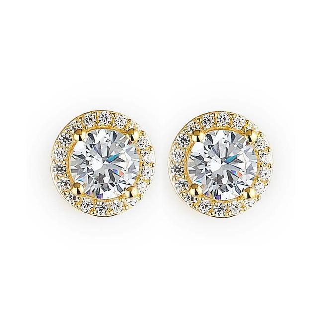 Yellow gold plated cubic zirconia halo stud earrings