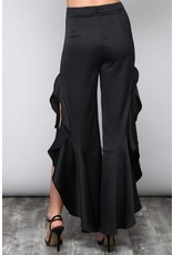 A Beauty By BMB Ruffle Flared Pants W/ Side Split Black