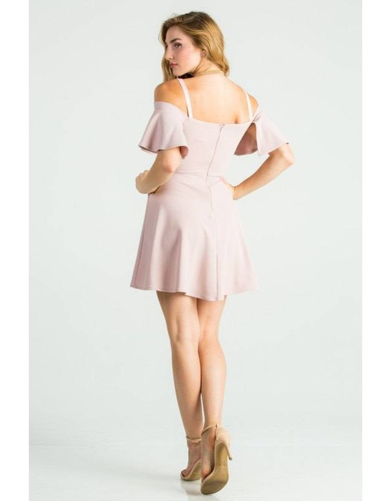 La Scala Cold Shoulder Fit & Flare Dress Blush