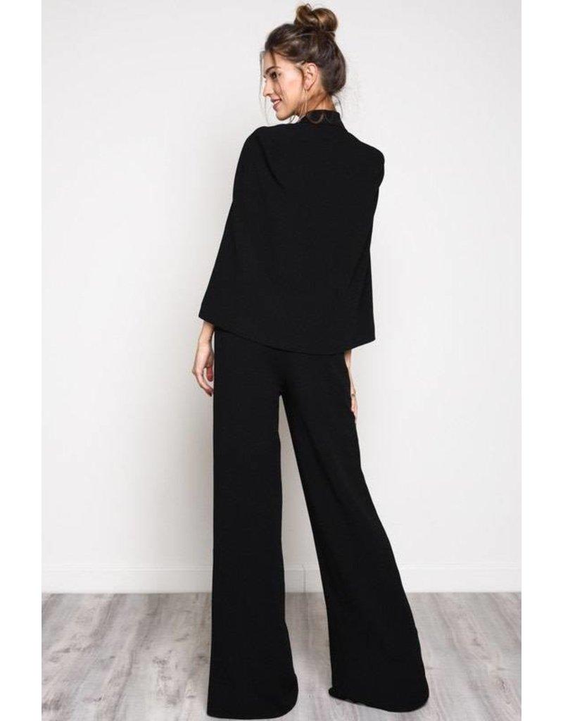 Blue Blush L/S Open Jacket & Pant Set Black