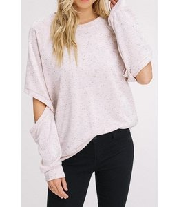 Avvio LA L/S Elbow Cut Out Sweatshirt Oatmeal