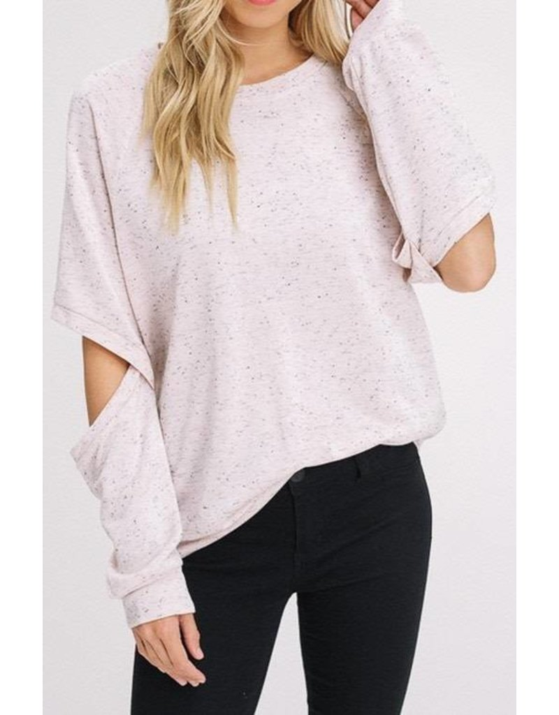 Avvio LA L/S Elbow Cut Out Sweatshirt Oatmeal