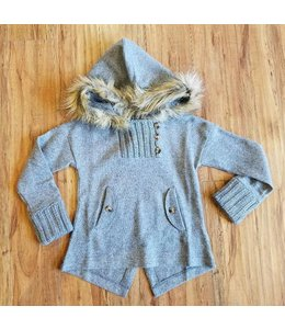 Mayoral Jacket Sweater W/ Fur Hood Grey