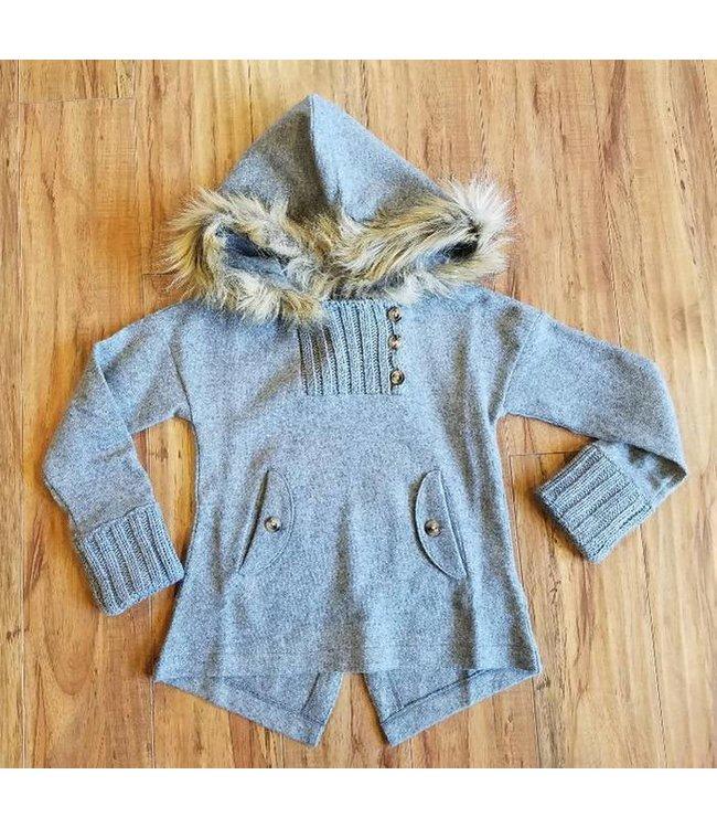 Mayoral Jacket Sweater W/ Fur Hood Grey