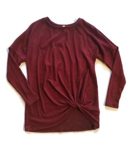L/S Hacci Brushed Knit Top Burgundy