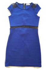 Dress W/ Mesh Cap Sleeve Royal Blue/Black