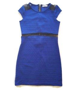 Dress W/ Mesh Cap Sleeve Royal Blue/Black