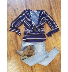 L/S Stripe Tie Blouse Navy/Multi